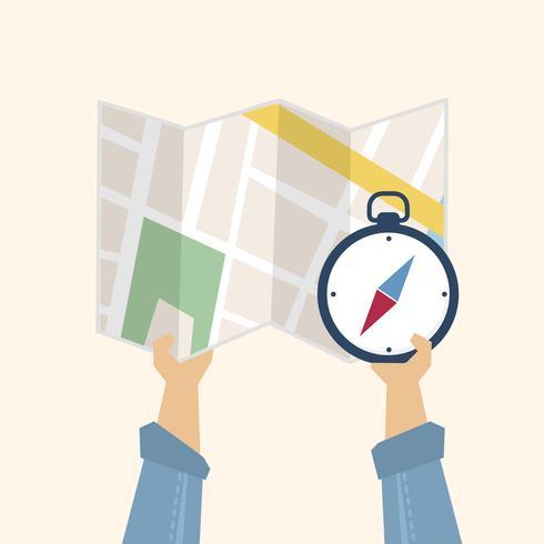 Illustratie van een kaart en een kompas