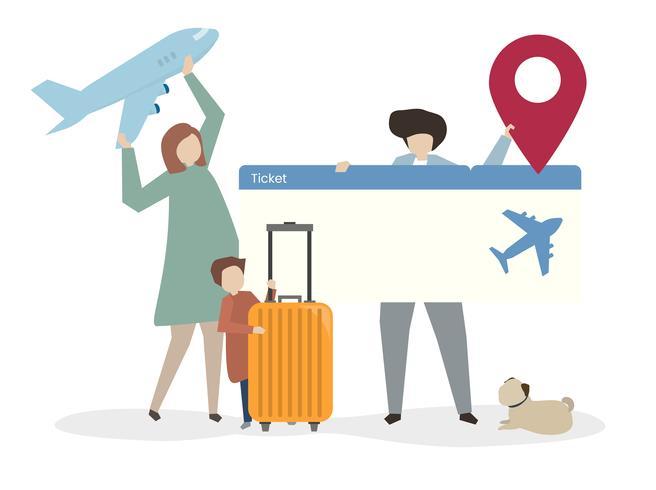 Illustrazione della famiglia che viaggiano insieme