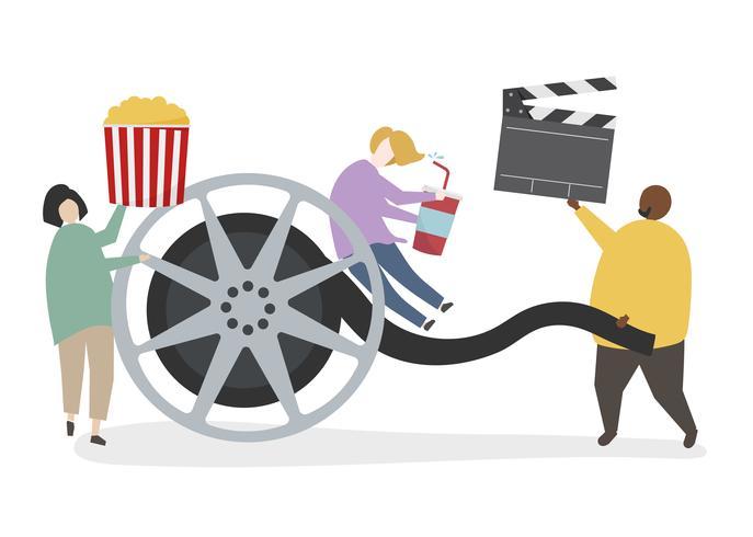 Illustration d'un personnage avec une bobine de film