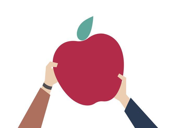 Ilustración de una manzana roja