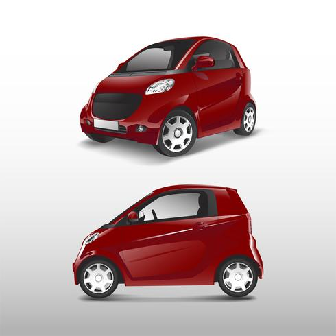 Röd kompakt hybridbil vektor