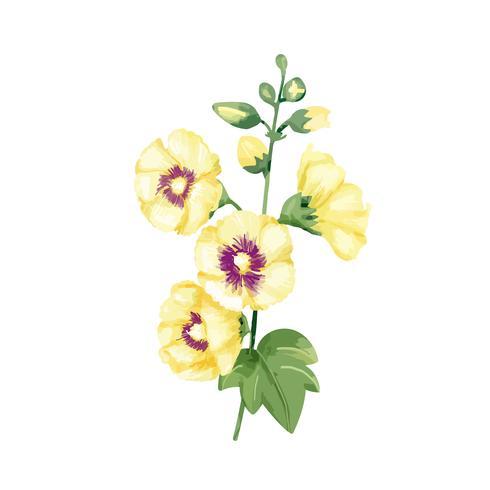 Hand getekend gele stokrozen bloem illustratie