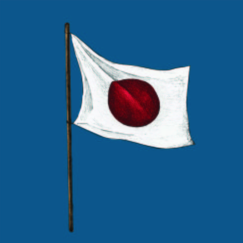 Illustration av japansk flagga