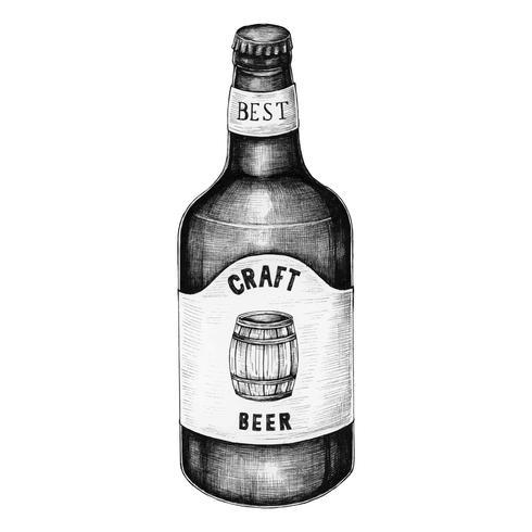Botella de cerveza artesanal dibujada a mano.