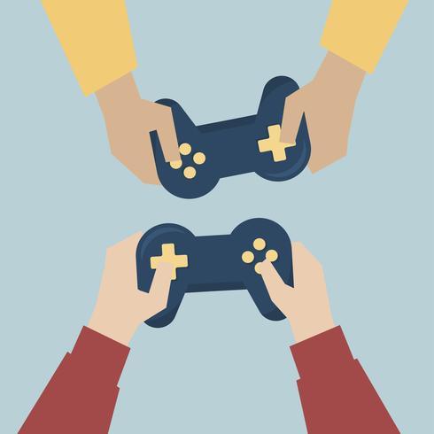 Manos que sostienen la ilustración de consolas de juegos