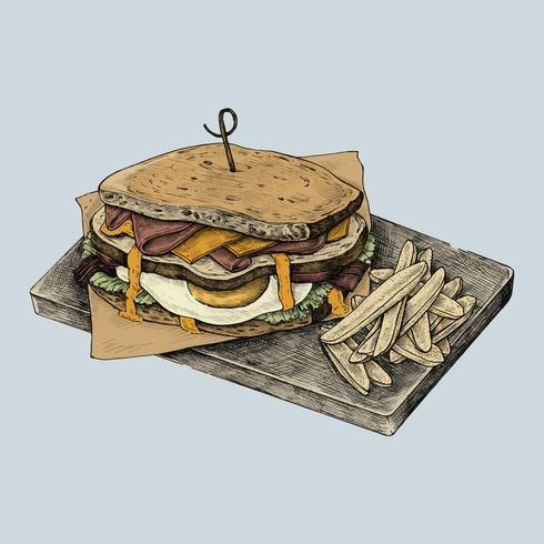 Illustration of a club sandwich