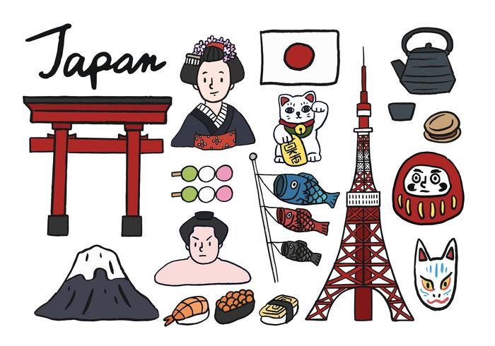 Collezione di simboli iconici del Giappone