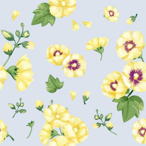 Hand gezeichnetes gelbes Hollyhocksmuster