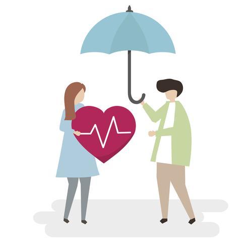 Illustratie van ziekteverzekering en beschermingsconcept