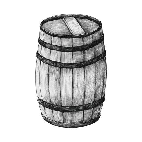 Barril de madera dibujado a mano.