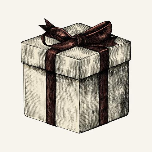 Esboço de uma caixa de presente embrulhada