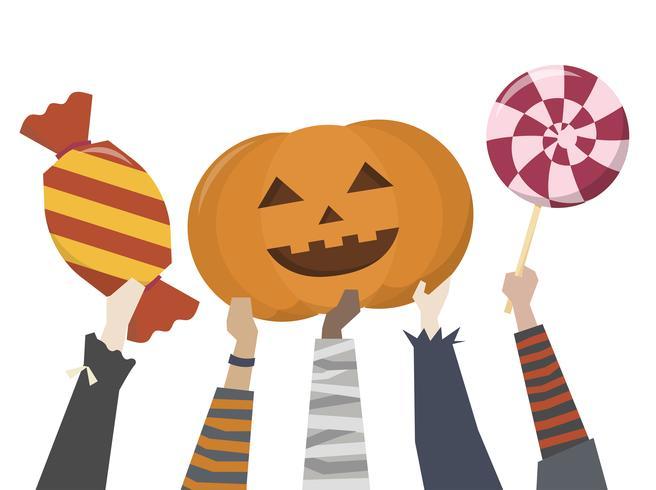 Illustratie van Halloween-trick or treat