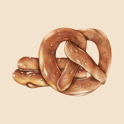 Vers gebakken pretzels handgetekende illustratie