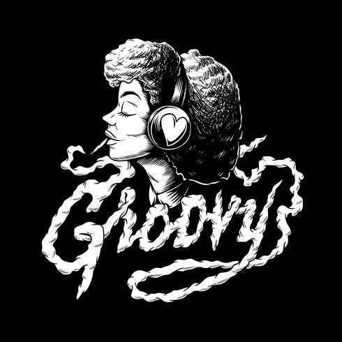 Groovy afro música ilustración creativa