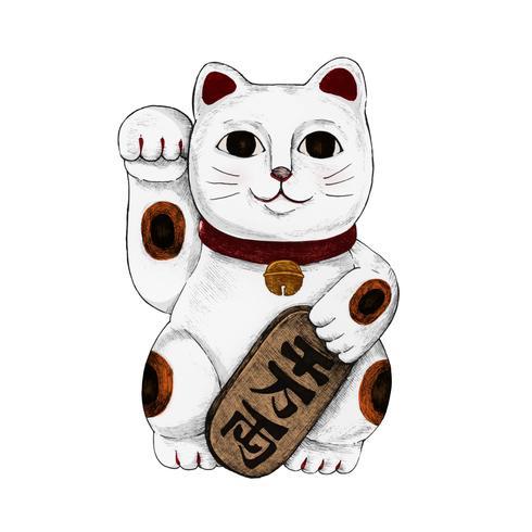 Illustratie van Japanse gelukkige kat