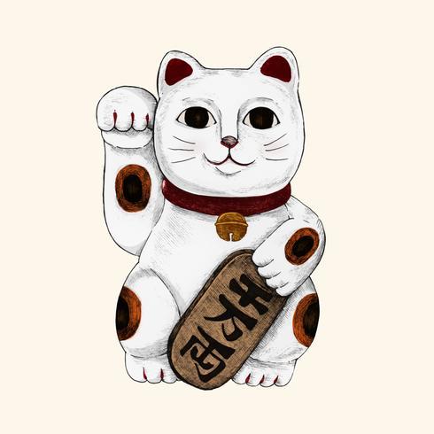 Ilustração, de, japoneses, afortunado, gato