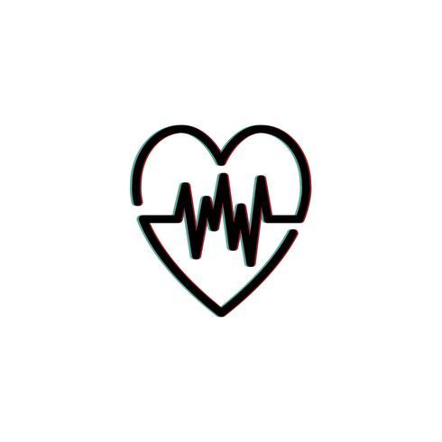 Ilustración de icono de cardiograma de frecuencia cardíaca