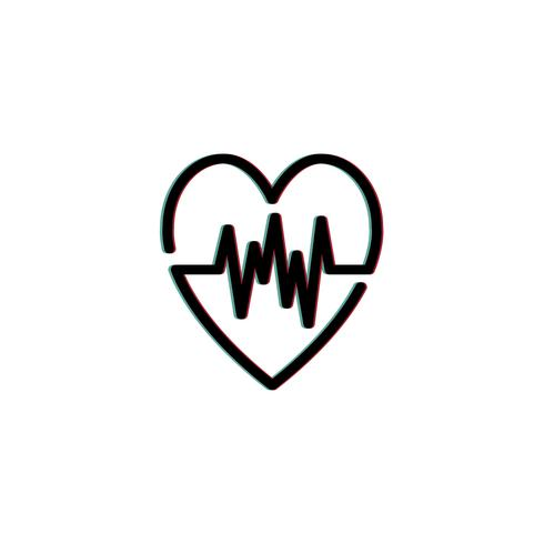 Hartslag cardiogram pictogram illustratie