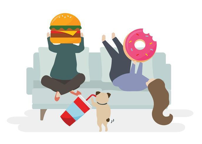 Illustration d'un personnage avec fast food vecteur