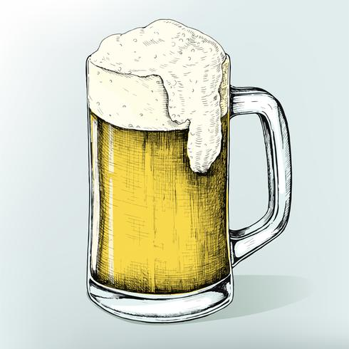Hand gezeichnetes alkoholisches Getränk des Bieres