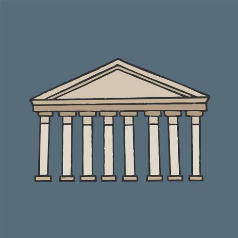 Ilustração gráfica do antigo panteão romano