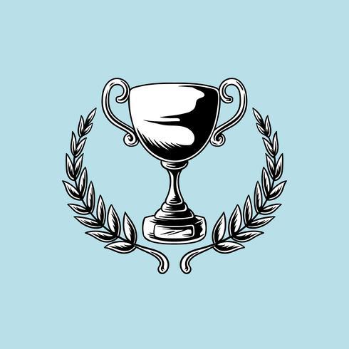 Trofee of cup met bladeren illustratie