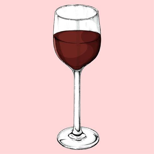 Handritat rött vinglas