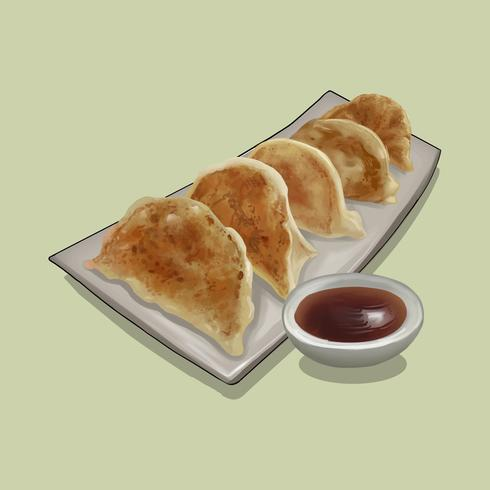 Japanese Gyoza with dipping sauce