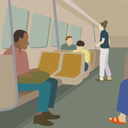 Commuters traveling by train illustration