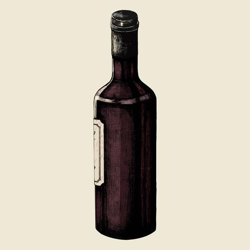 Botella de vino dibujada a mano aislada