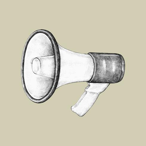 Handgetekende megafoon illustratie