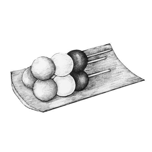 Gnocco giapponese dango disegnato a mano