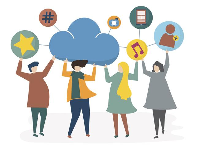 Abbildung des Sozialnetzes und des Teilens der Leute