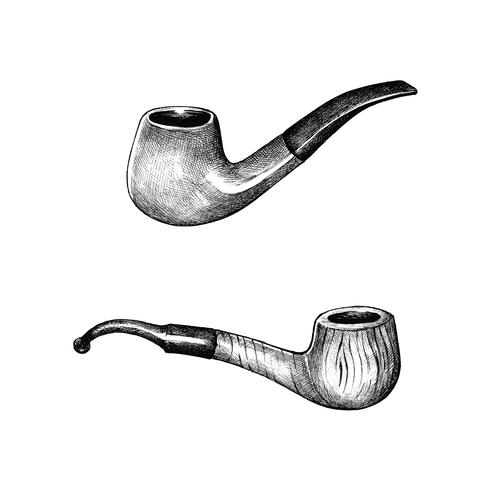 Hand drawn wooden tobacco pipe