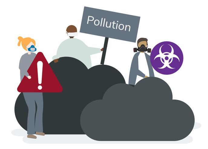 Poluição do ar smog e ar ruim