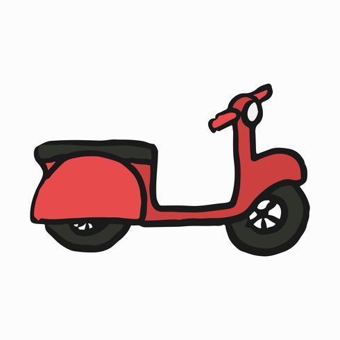 Ilustração de scooter vermelho no fundo branco