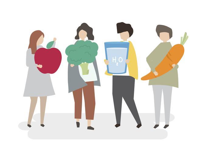 Pessoas ilustradas com alimentos saudáveis