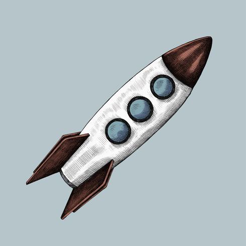 Illustrazione del razzo disegnati a mano