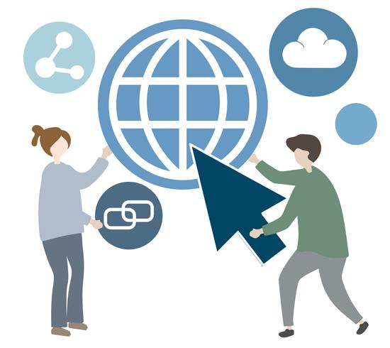 Illustration of character with global communication icon