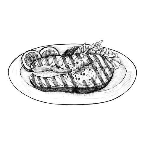 Dibujado a mano filete de pescado a la parrilla