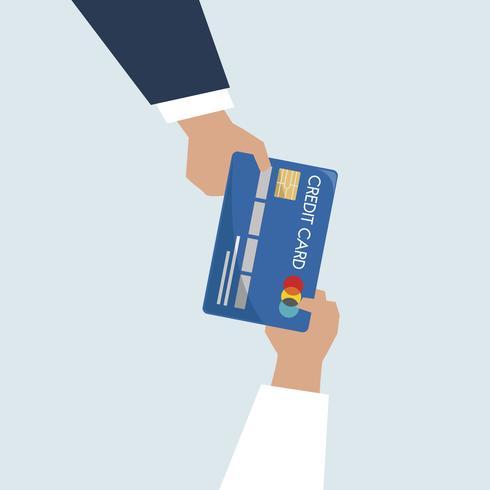 Ilustração, de, mãos, segurando, cartão crédito
