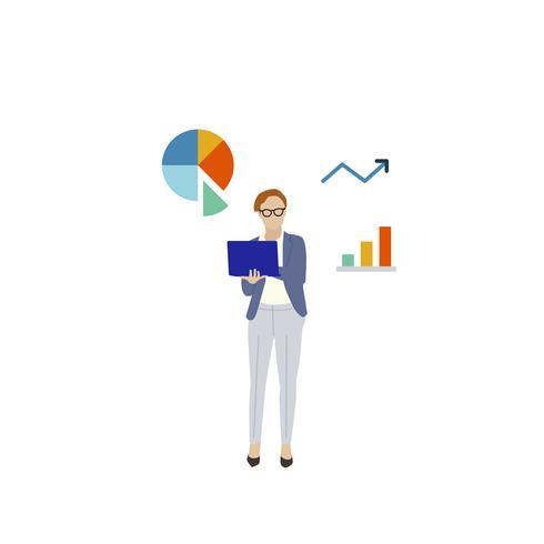 Mulher de negócios ilustrada com gráfico de análise de dados