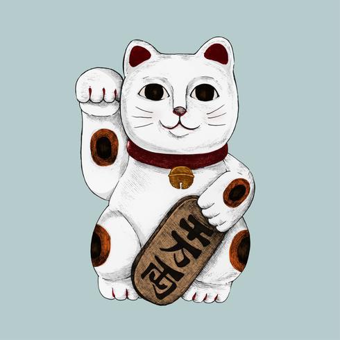 Ilustración del gato afortunado japonés