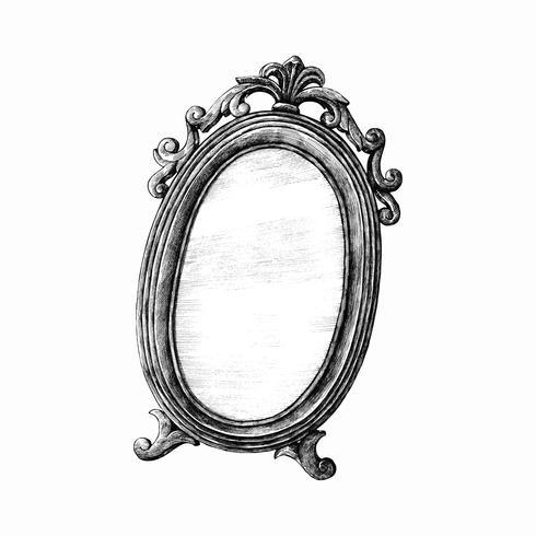 Espelho desenhado de mão isolado no fundo branco