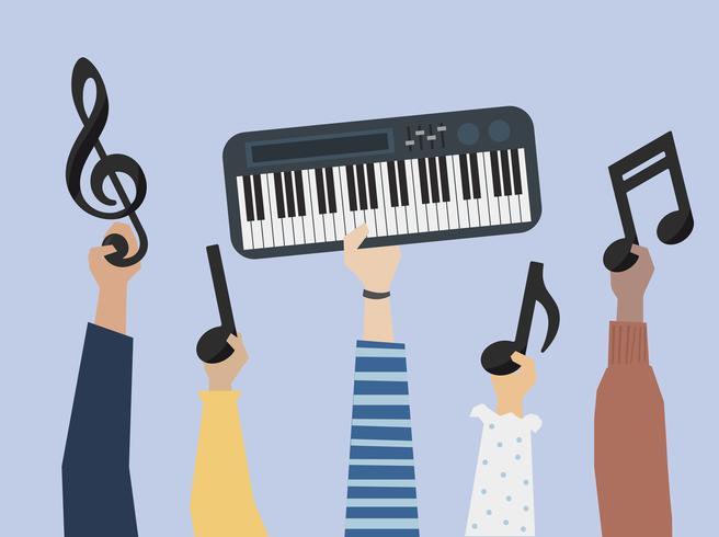 Manos sosteniendo una ilustración de notas de sintetizador y música
