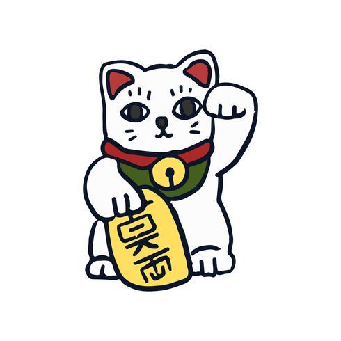 Maneki Neko gelukkige kattenillustratie