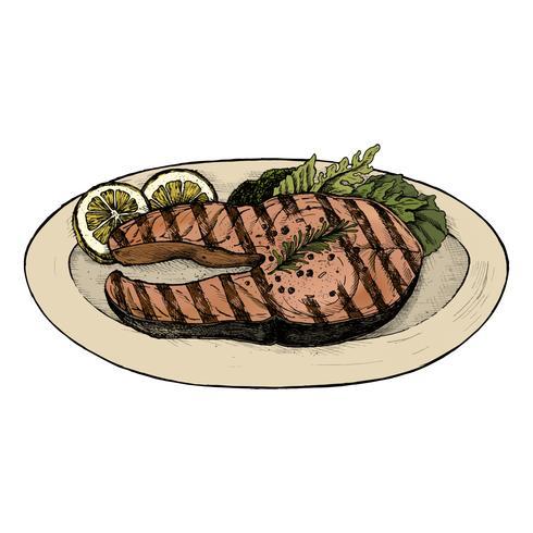 Hand getekend gegrilde vis steak