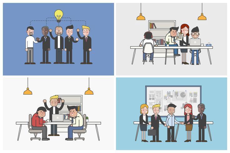 Coleção de trabalhadores de escritório ilustrado em várias situações diárias