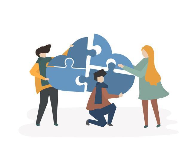 Ilustración del trabajo en equipo con personas conectando piezas de una nube.