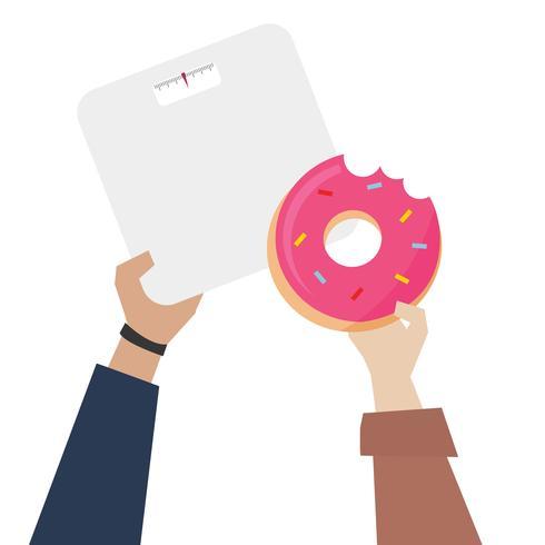 Hände, die Donut mit Gewichtsskalaillustration zeigen